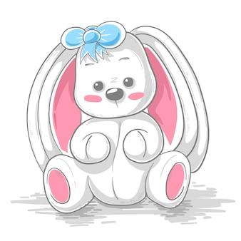 Illustration de dessin animé mignon lapin en peluche