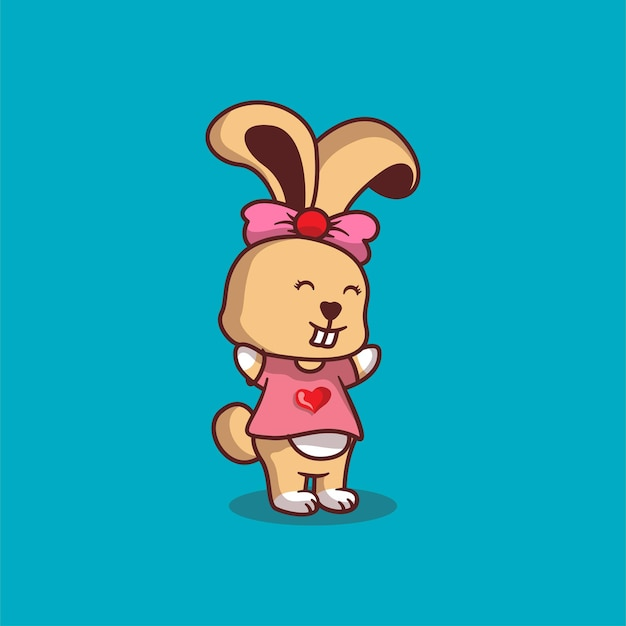 Illustration de dessin animé mignon lapin
