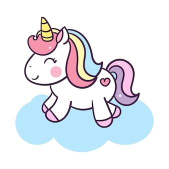Illustration de dessin animé mignon licorne: série illustration de poney de conte de fées très mignon