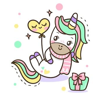 Illustration de dessin animé mignon licorne