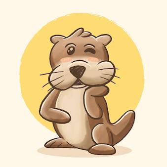 Illustration de dessin animé mignon loutre dessin à la main et style aquarelle joy and happy loutre