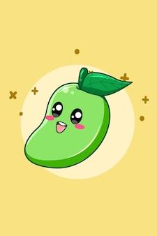 Illustration de dessin animé mignon mangue fruit