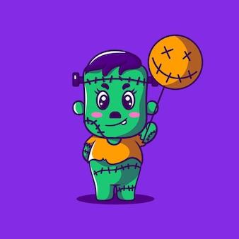 Illustration de dessin animé mignon monstre halloween