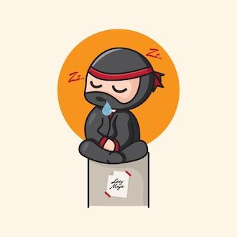 Illustration de dessin animé mignon ninja chibi endormi