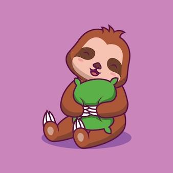 Illustration de dessin animé mignon oreiller câlin paresseux