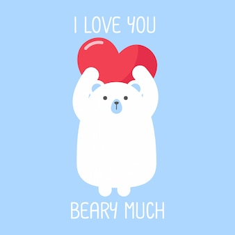 Illustration de dessin animé mignon ours avec citation de jeu de mots