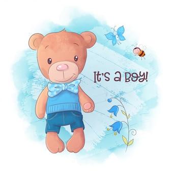 Illustration de dessin animé mignon ours dessinés à la main