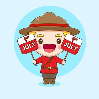 Illustration de dessin animé de mignon personnage de police canadienne tenant un calendrier