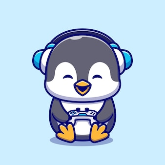 Illustration de dessin animé mignon pingouin gaming.