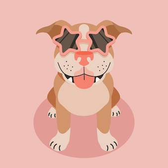 Illustration de dessin animé mignon pitbull