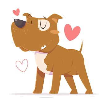 Illustration de dessin animé mignon pitbull