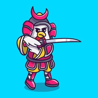 Illustration de dessin animé mignon poulet samouraï