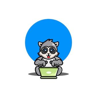 Illustration de dessin animé mignon raton laveur d'exploitation ordinateur portable