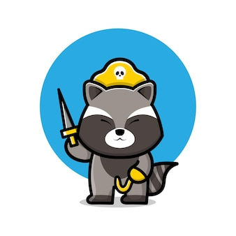 Illustration de dessin animé mignon raton laveur pirate