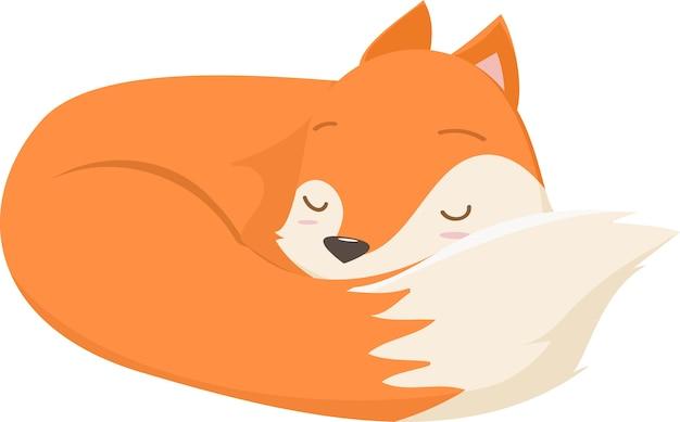 Illustration de dessin animé mignon renard dormir
