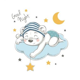 Illustration de dessin animé mignon rêver ours dessinés à la main