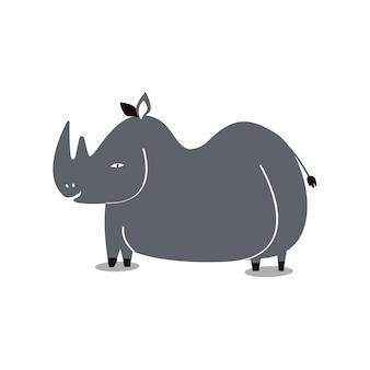 Illustration de dessin animé mignon rhinocéros sauvage