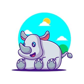 Illustration de dessin animé mignon rhinocéros