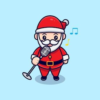 Illustration de dessin animé mignon santa claus singing mascot cartoon.