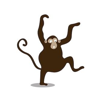 Illustration de dessin animé mignon singe sauvage