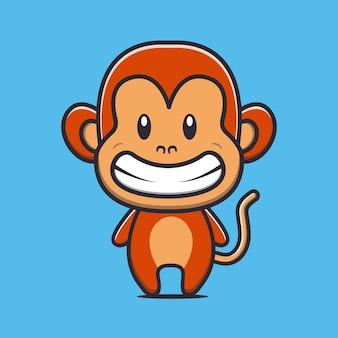 Illustration de dessin animé mignon singe sourire