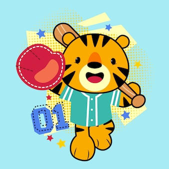 Illustration de dessin animé mignon tigre jouant au baseball