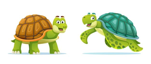 Illustration de dessin animé mignon tortue et tortue de mer