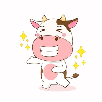 Illustration de dessin animé mignon vache heureuse