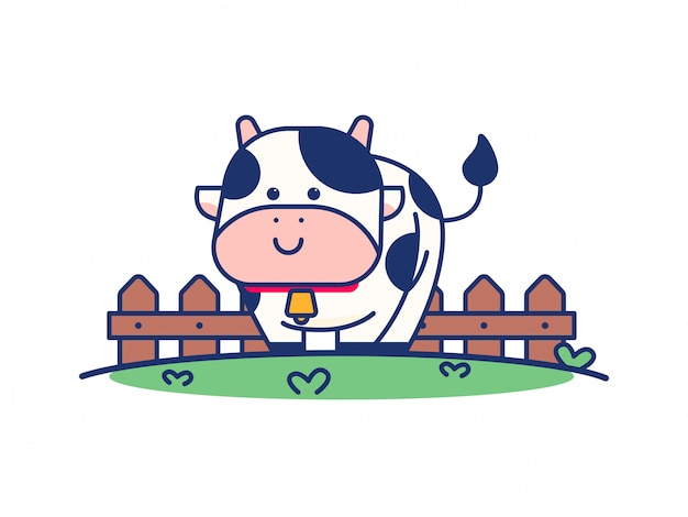 Illustration de dessin animé mignon vache