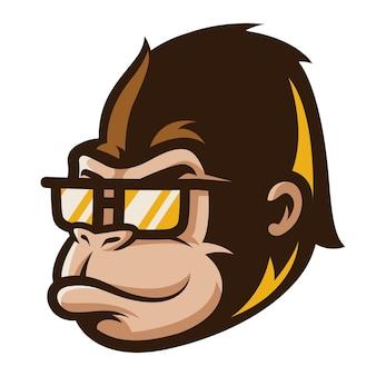 Illustration de dessin animé de mignon visage de gorille.