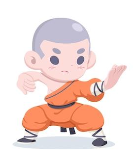 Illustration de dessin animé de moine guerrier shaolin style mignon