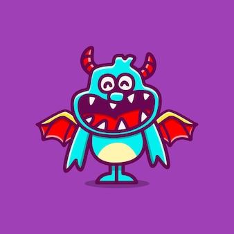Illustration de dessin animé de monstre kawaii doodle
