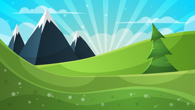 Illustration de dessin animé montagne, sapin, nuage, soleil