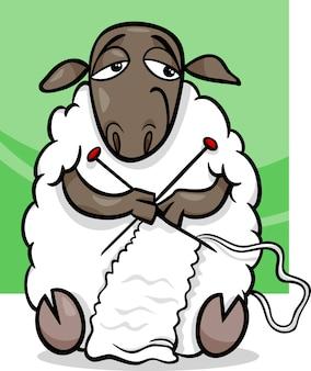 Illustration de dessin animé de moutons à tricoter
