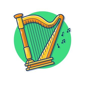 Illustration de dessin animé de musique classique harpe