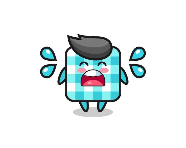 Illustration de dessin animé de nappe à carreaux avec un geste qui pleure, design de style mignon pour t-shirt, autocollant, élément de logo