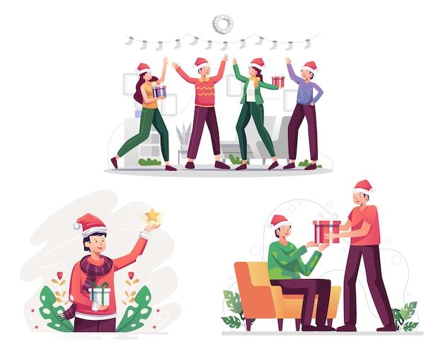 Illustration dessin animé noël famille décoration arbre de noël et célébration pour le nouvel an