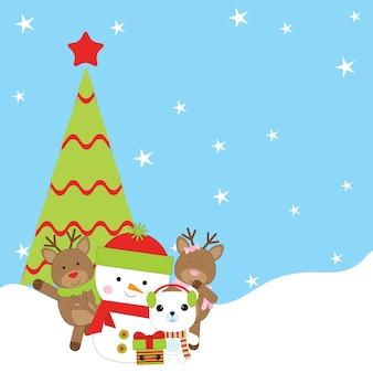 Illustration de dessin animé de noël avec mignon bonhomme de neige, renne et ours polaire sous l'arbre de noël