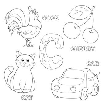 Illustration de dessin animé en noir et blanc du cahier de pratique des compétences en écriture avec la lettre c pour le livre de coloriage pour enfants d'âge préscolaire et élémentaire - chat, cerise, voiture, coq
