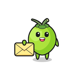 Illustration de dessin animé de noix de coco tenant une lettre jaune
