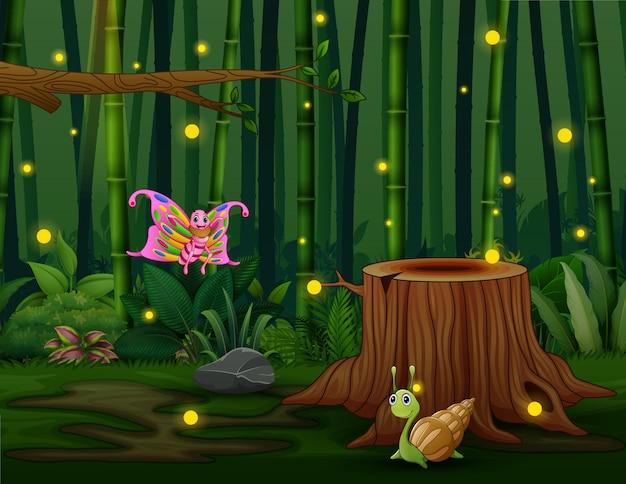 Illustration de dessin animé de nombreux insectes avec des lucioles dans le jardin