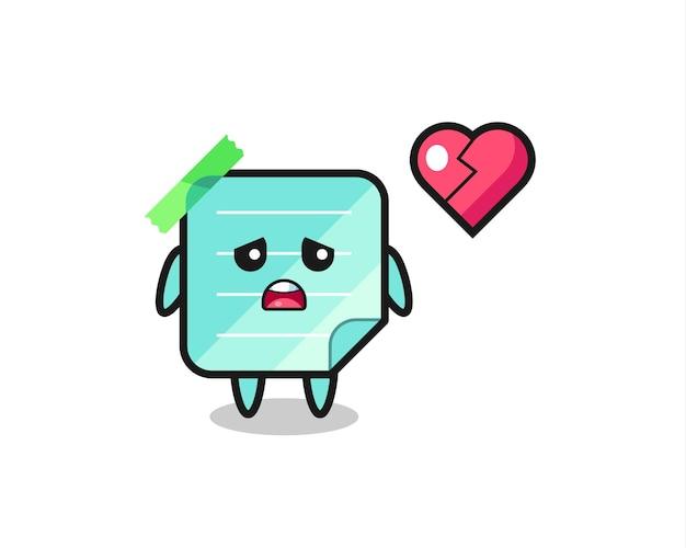 L'illustration de dessin animé de notes collantes est un cœur brisé, un design de style mignon pour un t-shirt, un autocollant, un élément de logo
