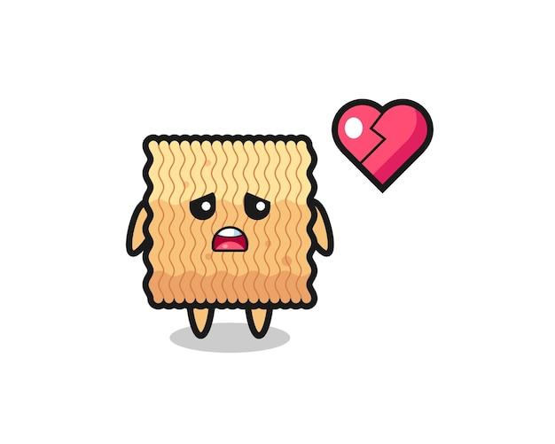 L'illustration de dessin animé de nouilles instantanées brutes est un cœur brisé, un design de style mignon pour un t-shirt, un autocollant, un élément de logo