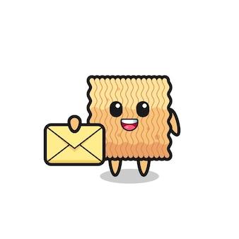 Illustration de dessin animé de nouilles instantanées brutes tenant une lettre jaune, design de style mignon pour t-shirt, autocollant, élément de logo