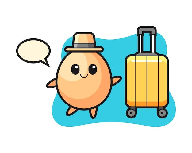 Illustration de dessin animé d'oeuf avec des bagages en vacances, conception de style mignon pour t-shirt, autocollant, élément de logo