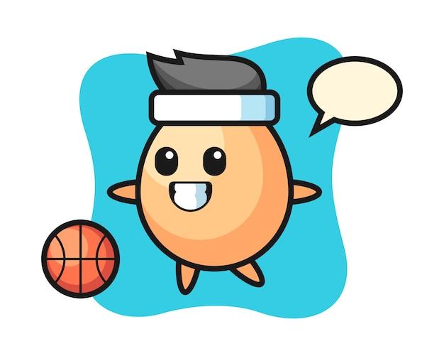 Illustration de dessin animé d'oeuf joue au basket-ball, conception de style mignon pour t-shirt, autocollant, élément de logo