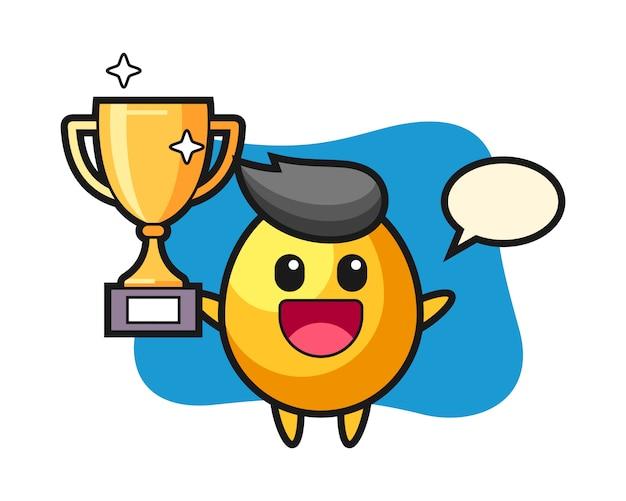 Illustration de dessin animé d'oeuf d'or est heureux de brandir le trophée d'or, conception de style mignon