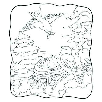 Illustration de dessin animé les oiseaux apportent de la nourriture à leur livre de nids ou à une page pour les enfants en noir et blanc