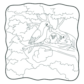 Illustration de dessin animé les oiseaux apportent de la nourriture et se perchent sur un livre ou une page d'arbres pour les enfants en noir et blanc
