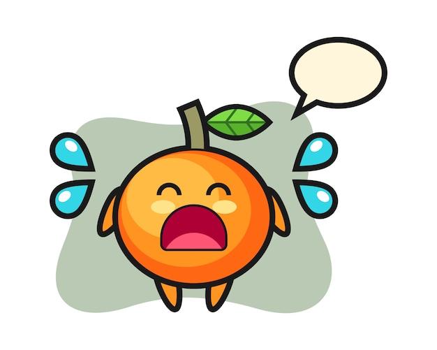 Illustration de dessin animé orange mandarine avec geste qui pleure, style mignon, autocollant, élément de logo
